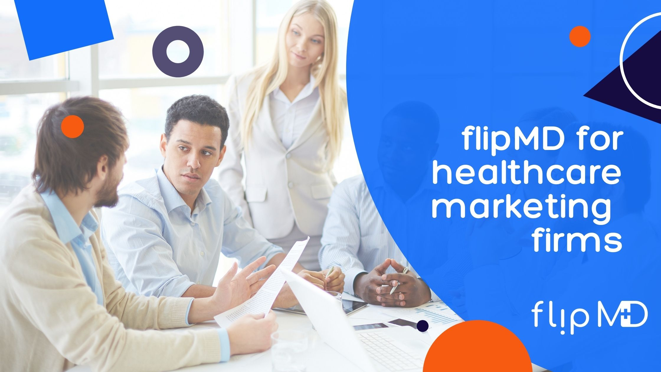 healthcare marketing firm meeting to discuss flipmd project